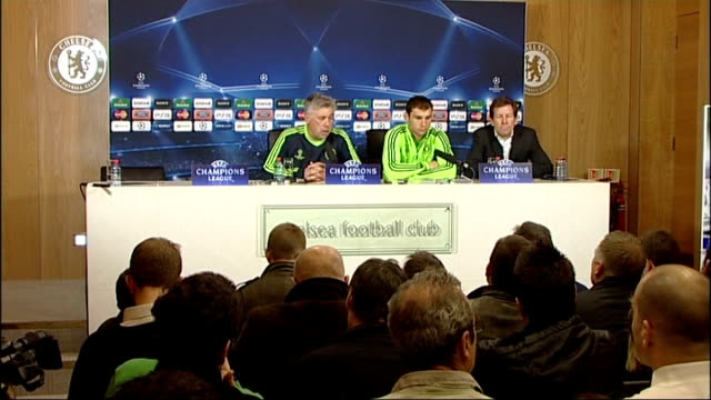 run up to chelsea v copenhagen match carlo ancelotti press conference - regione dell'oresund video stock e b–roll