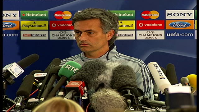 champions league semi final: chelsea v liverpool; jose mourinho press conference sot - semifinal round stock videos & royalty-free footage