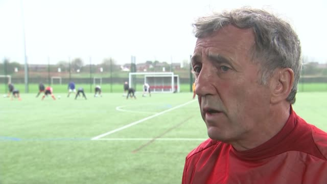 champions league semi final: liverpool beat roma in first leg; england: alan kennedy set-up playing football on training pitch and interview sot/... - semifinal round stock videos & royalty-free footage
