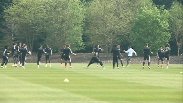 semi finals 2142014 england surrey cobham ext wide shots of chelsea players training on pitch - semifinal round stock videos & royalty-free footage