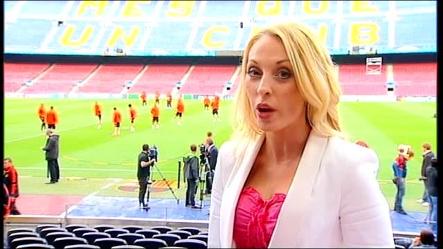 vídeos y material grabado en eventos de stock de champions league semi-final preview: chelsea v barcelona; ext reporter to camera - ronda de semifinales