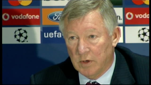 preview manchester sir alex ferguson press conference sot hope we'll play a really good game and win / respect arsenal's ability to play good... - cracker stock videos and b-roll footage