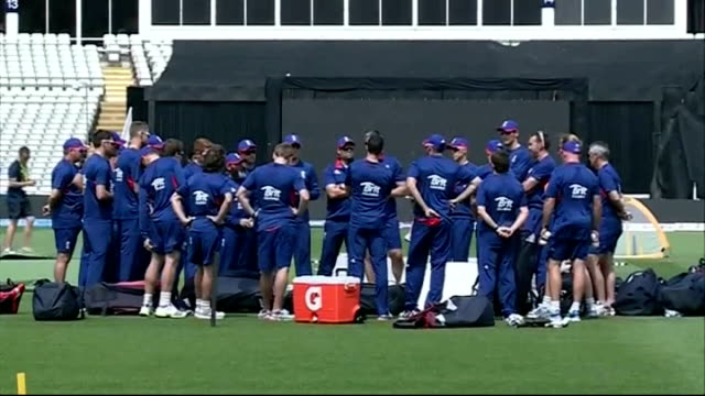 England training session ENGLAND Midlands Birmingham Edgbaston cricket Ground EXT Man along holding board / Alastair Cook down steps and along /...