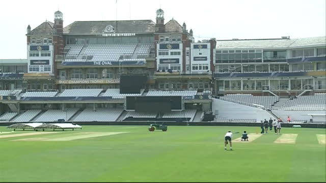 South Africa training and press conference ENGLAND London The Oval EXT Wide shots South Africa cricketers training / empty stands / South African...