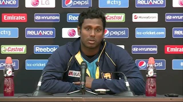 Sri Lanka press conference More Mathews press conference SOT / Mathews leaving presser GVs of Sri Lanka training session at The Oval / GVs batting in...