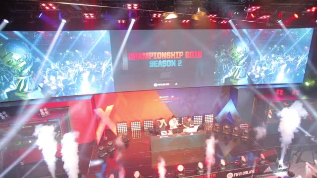 championship 2015 season 2 is displayed on a big screen at the final round of the electronic arts inc sports fifa online championship in seoul south... - contestant stock videos & royalty-free footage