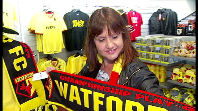 Watford win through to the final INT Frances Lynn interview SOT Frances Lynn holding out Watford FC scarf Frances Lynn interview SOT