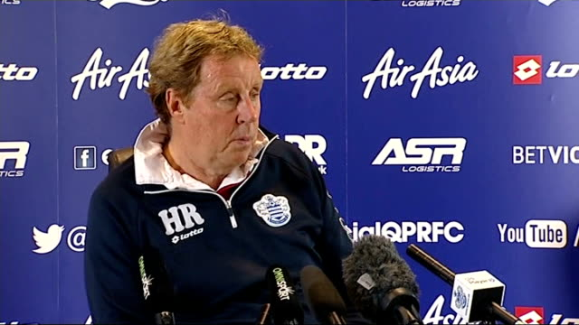 championship play-off: qpr v wigan: preview; england: london: int harry redknapp press conference sot - wigan are a good team, it will be a tough game - ハリー レッドナップ点の映像素材/bロール