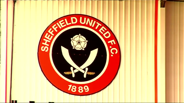 sheffield united prepare for play-offs; england: sheffield: bramall lane: ext shots of bramall lane close-up of flag on stadium and clock close-up of... - playoffs stock videos & royalty-free footage