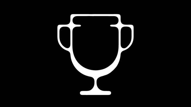 championship trophy line icon animation with alpha - winning the first prize stock videos and b-roll footage