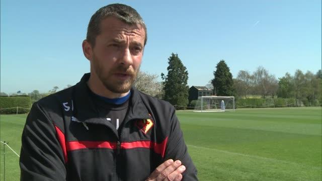 Watford close to promotion to Premier League Colney Watford Training Ground Slavisa Jokanovic interview SOT/ Watford FC players training on football...