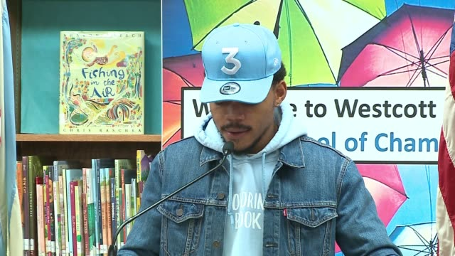 wgn chance the rapper announced at a press conference at westcott elementary school on march 6 2017 that he is donating $1 million to chicago public... - chance stock videos & royalty-free footage