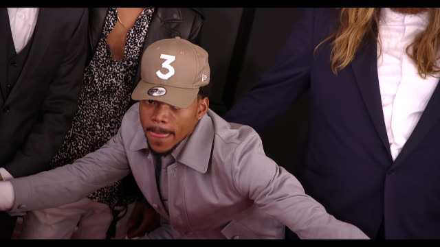 chance the rapper at 59th annual grammy awards arrivals at staples center on february 12 2017 in los angeles california 4k - chance stock videos & royalty-free footage