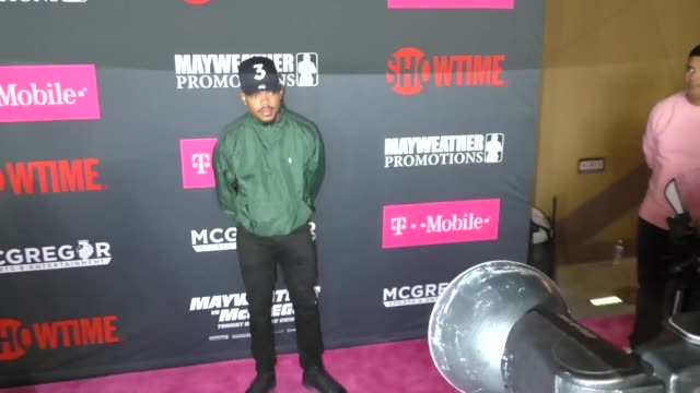 chance the rapper at the floyd mayweather jr vs conor mcgregor bout preevent vip party magenta carpet on august 26 2017 in las vegas nevada - chance stock videos & royalty-free footage