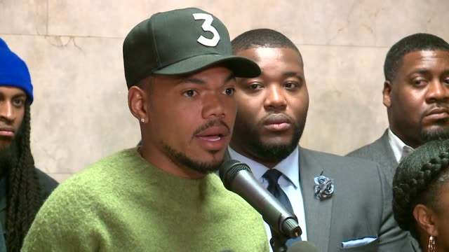 chance the rapper endorses toni preckwinkle for mayor at a press conference on march 21, 2019. - chance the rapper stock videos & royalty-free footage