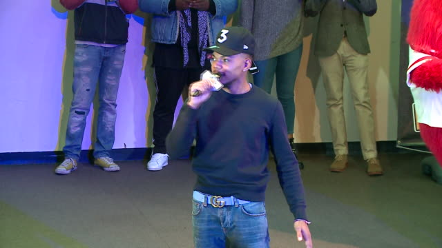wgn chance the rapper surprised students at an assembly at michele clark high school in chicago's south austin neighborhood on nov 24 2017 he... - new chance stock videos & royalty-free footage