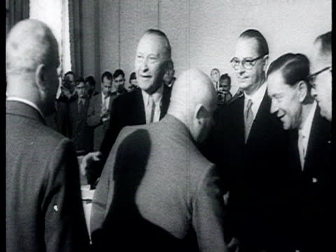 chancellor adenauer visits moscow and shakes hands with bulganin khrushchev molotov / moscow russia audio - 1955 stock videos & royalty-free footage