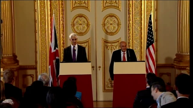 chancellor alistair darling and us treasury secretary henry paulson press conference england london foreign and commonwealth office int alistair... - alistair darling stock videos & royalty-free footage