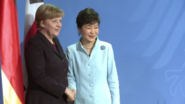 chancellor angela merkel pledged germanys support wednesday during a visit by south koreas president for efforts to unify the korean peninsular... - chancellor stock videos and b-roll footage