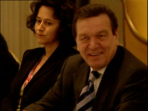 chancellor gerhard schroeder and president jacques chirac at presummit meeting brussels 12 dec 03 - global communications stock videos & royalty-free footage