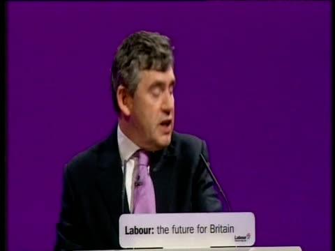 vídeos y material grabado en eventos de stock de chancellor gordon brown comments on strained relationship between himself and prime minister blair at party conference - primer ministro británico
