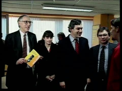 chancellor gordon brown visits job centre following new legislation on employment uk 5 january 1998 - legislation stock videos & royalty-free footage