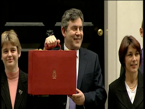 chancellor of the exchequer gordon brown and team including paul boateng and ruth kelly exit number 11 downing street and pose for photo opportunity... - chancellor of the exchequer stock videos and b-roll footage