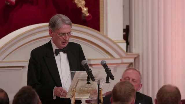 chancellor of the exchequer philip hammond gives speech at the lord mayor of london's dinner he addressed his opinions on brexit and his expectation... - chancellor stock videos and b-roll footage