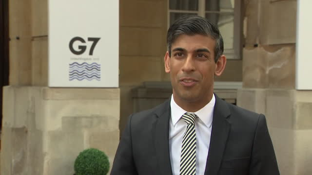 chancellor of the exchequer rishi sunak announcing the new international tax system outside the g7 finance ministers meeting in london - global business stock videos & royalty-free footage