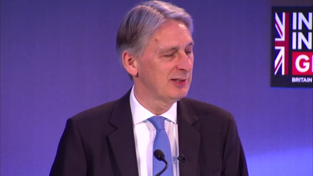 chancellor philip hammond addresses fintech conference england london int philip hammond mp speech re unveiling a task force to examine the risks and... - financial accessory stock videos and b-roll footage