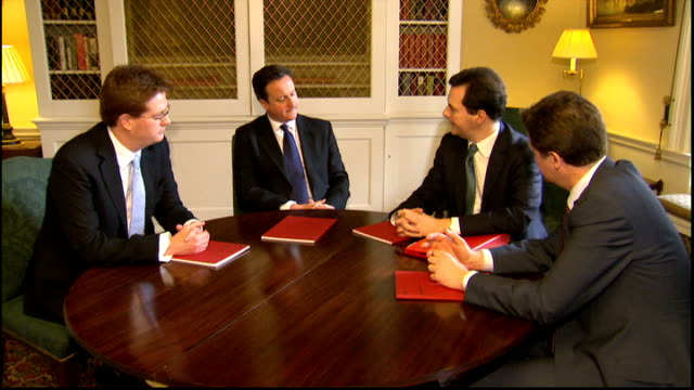 chancellor promises tax avoidance crackdown file / t06031201 no10 int david cameron mp george osborne mp nick clegg mp and danny alexander mp sitting... - avoidance stock videos & royalty-free footage