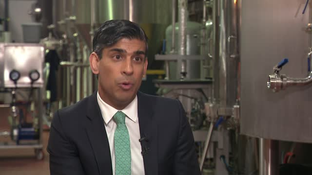 chancellor rishi sunak says growth figures show economy is improving; england: london: walthamstow: pillars brewery: int rishi sunak mp interview sot... - politics stock videos & royalty-free footage