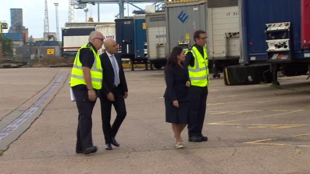chancellor sajid javid and home secretary priti patel visit tilbury docks and meet border force staff - home secretary stock videos & royalty-free footage