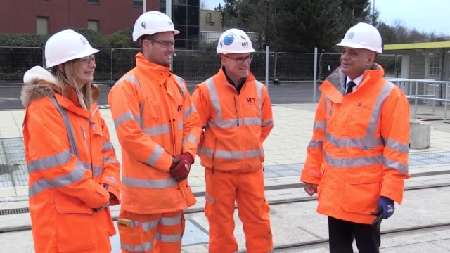 chancellor sajid javid visits a construction project on the trafford park metrolink tram line in manchester answering questions on transport spending... - transportation stock videos & royalty-free footage