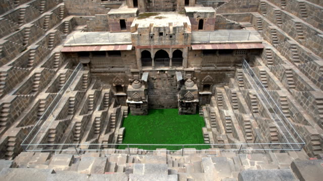 chand baori stepwell of abhaneri, rajasthan, india - temple building stock videos & royalty-free footage