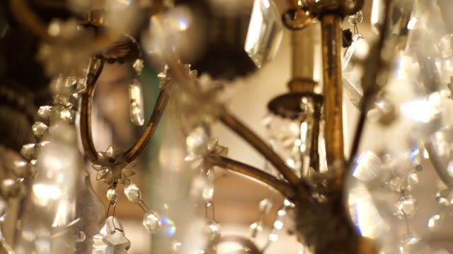 chandelier luxury on crystals and gold. - victorian stock videos & royalty-free footage