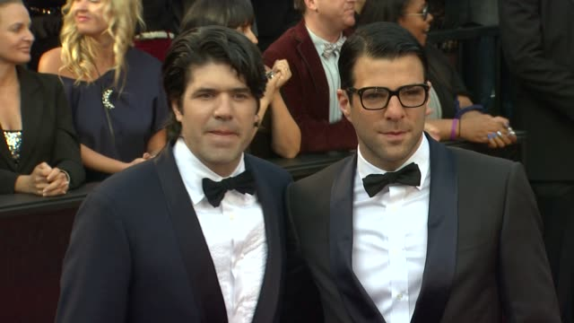 jc chandor zachary quinto at 84th annual academy awards arrivals on 2/26/12 in hollywood ca - zachary quinto stock videos and b-roll footage