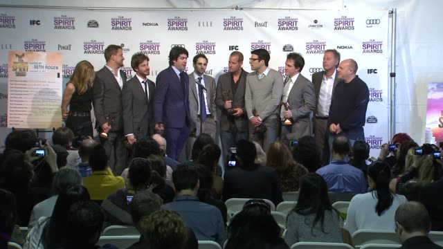 c chandor zachary quinto tiffany little canfield simon baker and bernard telsey on what it means to win at 2012 film independent spirit awards press... - zachary quinto stock videos and b-roll footage