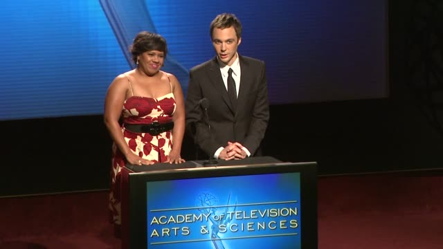 chandra wilson john shaffner and jim parsons announce the nominees for the 61st primetime emmy awards at the 61st primetime emmy_ awards nominations... - jim parsons stock videos and b-roll footage