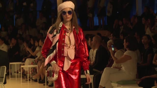 chanel stages a replica of its cruise 2018-2019 collection along bangkok's chao phraya river the first ever showing for the french fashion house in... - cruise collection stock videos & royalty-free footage