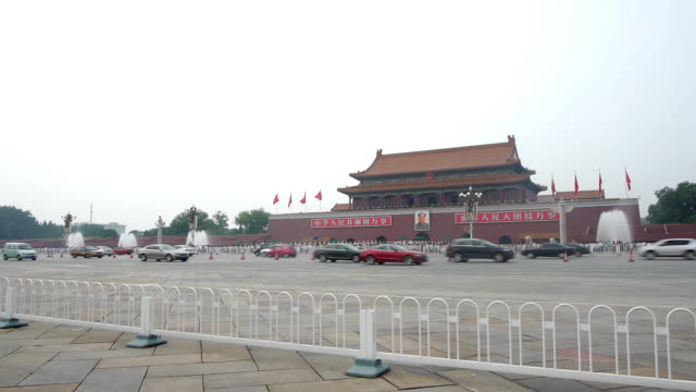 chang'an street in front of tiananmen - tiananmen square stock videos and b-roll footage