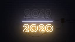 2019-2020 change Happy New Year 2020 neon sign