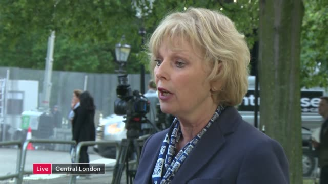 london winfield house ext anna soubry mp live interview sot - キャシー・ニューマン点の映像素材/bロール