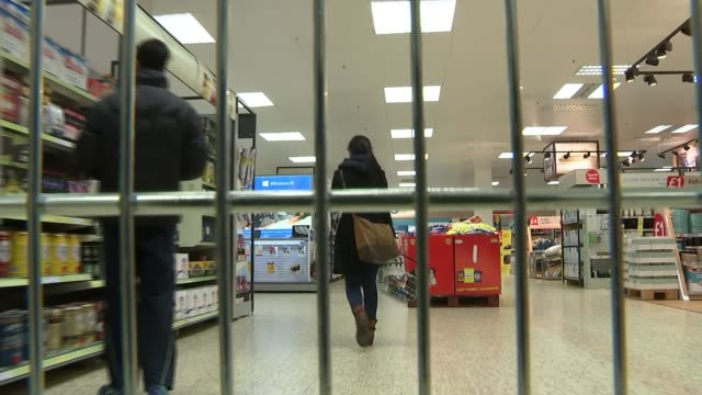 Changed shopping habits could see decline in large shopping trollies Date unknown from inside supermarket trolley as pushed around Tesco supermarket...