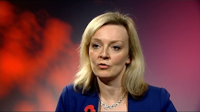 changes to gcse exam grading system london lizz truss mp interview sot - 一般教育証明試験点の映像素材/bロール
