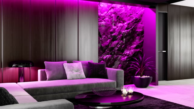changing led colors ambient light over stone wall in luxurious lounge room rgb ambient lights concept - led light stock videos & royalty-free footage