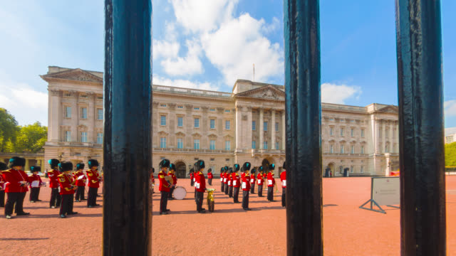 changing of the guard at buckingham palace in london. - honour guard stock videos & royalty-free footage
