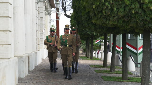 changing of the guard at sándor palace in budapest - fare la guardia video stock e b–roll