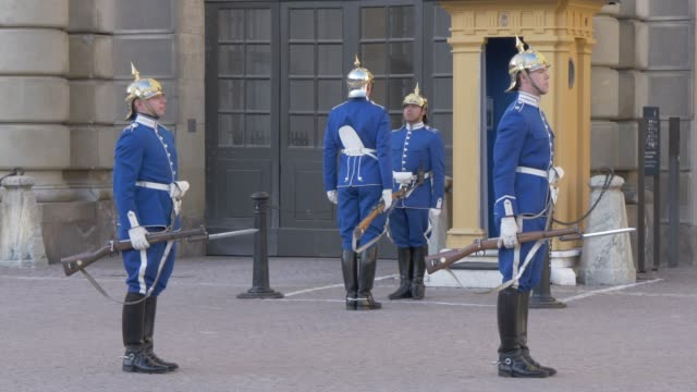 changing of the guard at the royal palace, stockholm, sweden, scandinavia, europe - the past stock videos and b-roll footage