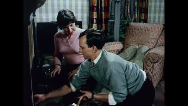 1969 uk - changing to smokeless coal - heizung stock-videos und b-roll-filmmaterial